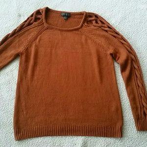 (Forever 21) Plus Orange Braided Sleeve Sweater